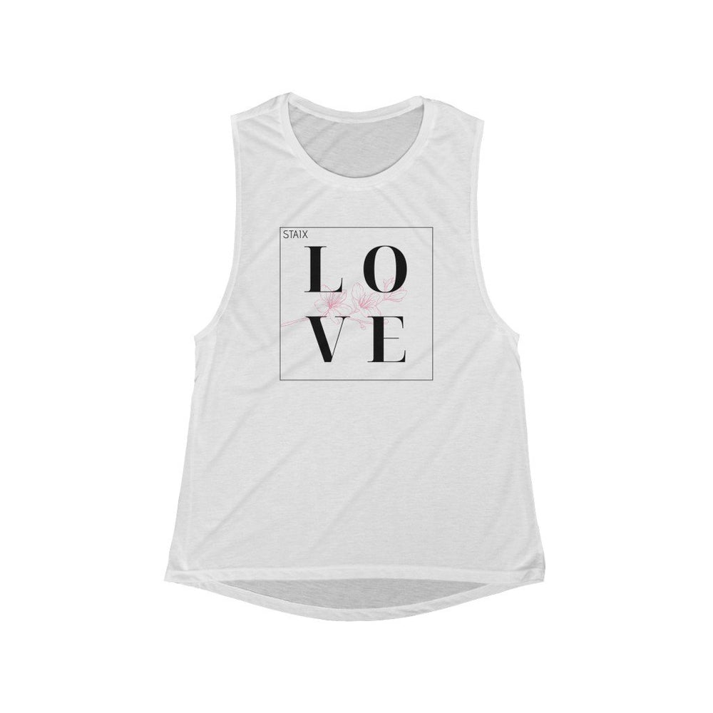 STAIX LOVE Flowy Scoop Muscle Tank Tank Top Printify White L