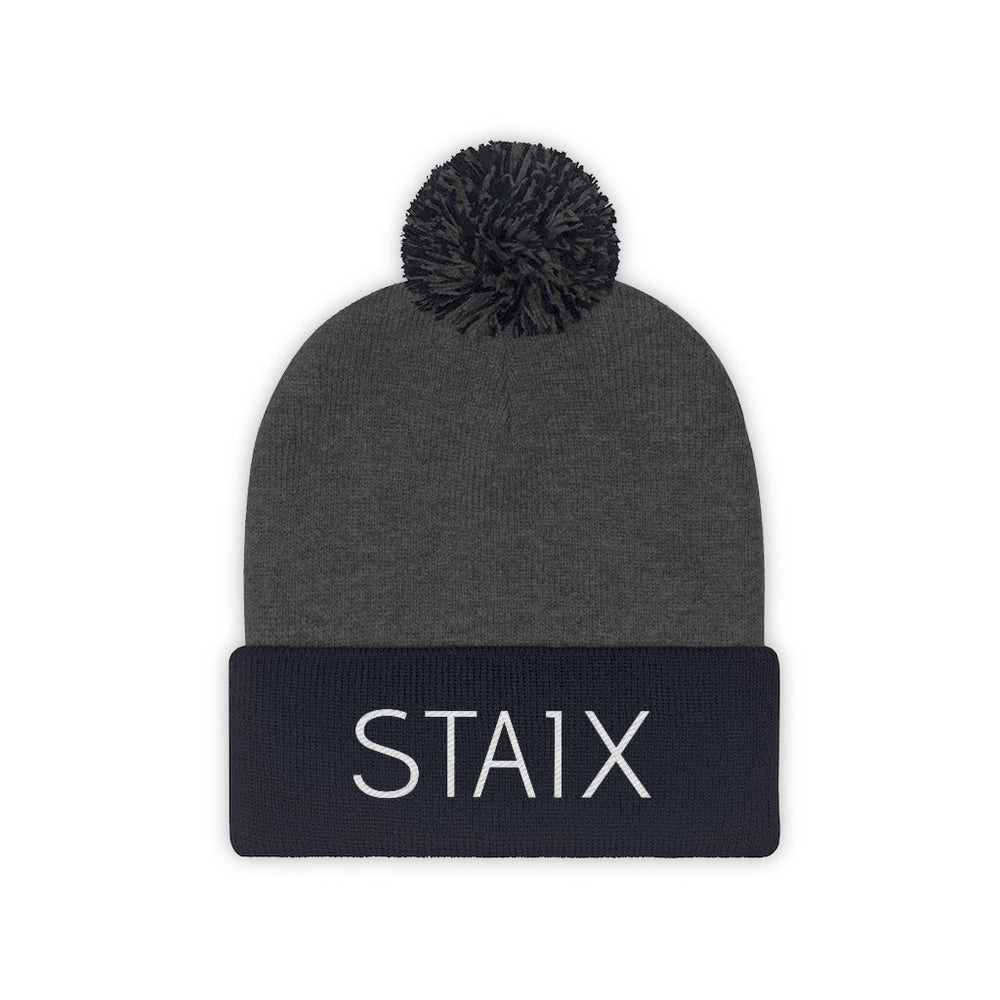 The Pom Beanie Hats Printify Navy/Graphite Heather One size