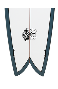 "Paragon Retro Fish 6'0"" Surfboard - White with Orion Blue Rails"