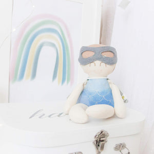 """Novelty"" Mini Mee Mr Superhero Modern Heirloom Cloth Doll - Storm"