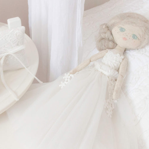 RubyBabyDesigns Memories in Threads Heirloom Keepsake Cloth Doll. Royal in design, etherial and classic in a mature way. Created with your amazing delicate and intricate or formal clothing such as wedding dresses. Created to replicate details down to hair and eye colour. Handmade in Melbourne. Afterpay available. 43cm tall.