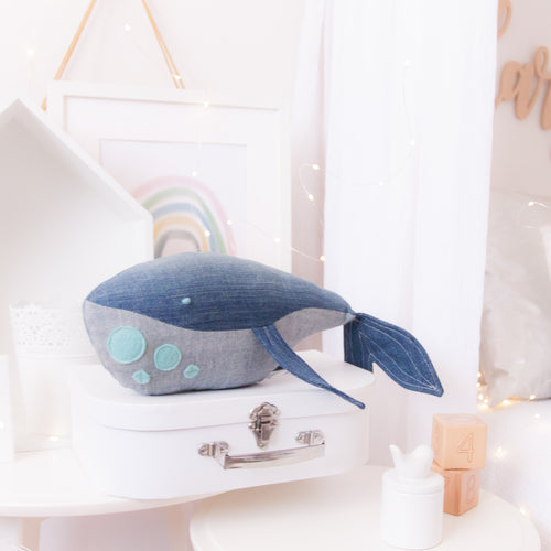 RubyBabyDesigns Keepsake Collective Wyatt the Whale Heirloom Keepsake. Handmade in Melbourne. Denim body two tone with wool blend felt applique spots on underbelly and hand knotted embroidered eye. Created with environmentally friendly PET fill.