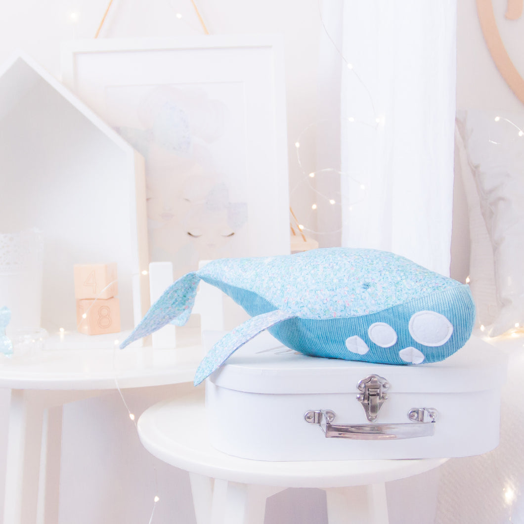 RubyBabyDesigns Keepsake Collective Wyatt the Whale, heirloom keepsake, decor, gift, whale, glitter, blue, white, sparkle, fins, tail, blue, lilac, aqua. Handmade in Melbourne. Featuring environmentally friendly PET fill