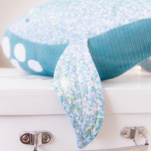Load image into Gallery viewer, RubyBabyDesigns Keepsake Collective Wyatt the Whale, heirloom keepsake, decor, gift, whale, glitter, blue, white, sparkle, fins, tail, blue, lilac, aqua. Handmade in Melbourne. Featuring environmentally friendly PET fill