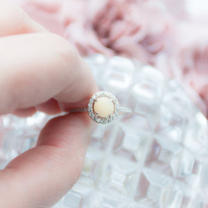 RubyBabyDesigns Keepsake Collective Harper Halo ring, sterling silver, handmade resin gem with preserved breastmilk, cubic zirconia, pearl, made in melbourne, custom made to order, Memories in Threads, heirloom keepsake, breastfeeding, breastmilk