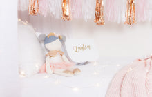 Load image into Gallery viewer, RubyBabyDesigns heirloom cloth doll, ballerina, luxe, faux leather, tulle, bow, felt, ballerina buns, ballet shoes, ragdoll, cloth decor, heirloom, keepsake, handmade, made in melbourne, gold, lace, sequins, blush, peachy pink, marble, grey, flowers, lace crown, crown, ballet shoes, tutu, lace trim, lace, stars, metallic, cape, sequins