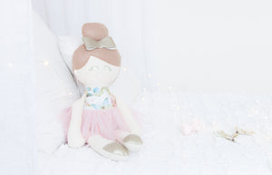 RubyBabyDesigns heirloom cloth doll, ballerina, faux leather, tulle, bow, felt, ballerina bun, ballet shoes, ragdoll, cloth decor, heirloom, keepsake, handmade, made in melbourne, vintage floral, floral, butterflies, birds, watercolour print, peachy pink, pink, wedgewood, cornflower, toffee, champagne, pewter, white, blue, olive, sage green