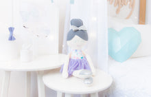 Load image into Gallery viewer, RubyBabyDesigns heirloom cloth doll, ballerina, pastels, faux leather, tulle, florals, bow, felt, ballerina bun, ballet shoes, tutu, metallic, silver, lilac, teal, aqua, mint, pink, orange, grey, purple, vintage floral, ragdoll, cloth decor, heirloom, keepsake, handmade, made in melbourne