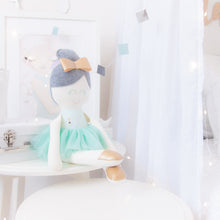 Load image into Gallery viewer, RubyBabyDesigns heirloom cloth doll, ballerina, faux leather, tulle, bow, felt, ballerina bun, ballet shoes, ragdoll, cloth decor,heirloom, keepsake, handmade, made in melbourne, mint, mist, aqua, swan, gold, grey, white, blush pink, metallic