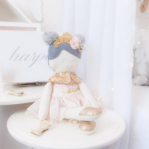 RubyBabyDesigns heirloom cloth doll, ballerina, luxe, faux leather, tulle, bow, felt, ballerina buns, ballet shoes, ragdoll, cloth decor, heirloom, keepsake, handmade, made in melbourne, gold, lace, sequins, blush, peachy pink, marble, grey, flowers, lace crown, crown, ballet shoes, tutu, lace trim, lace, stars, metallic, cape, sequins
