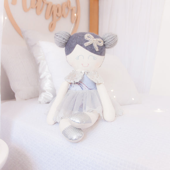 RubyBabyDesigns heirloom cloth doll, ballerina, luxe, faux leather, tulle, bow, felt, ballerina buns, ballet shoes, ragdoll, cloth decor, heirloom, keepsake, handmade, made in melbourne, silver, diamonties, bow, rhinestones, grey, lilac, purple, glitter, unicorns, lace, sequins