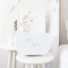 Load image into Gallery viewer, RubyBabyDesigns gift box, white, personalised, personalisation, name, carded box, buckle, silver, packaging, suitcase, keepsake, heirloom, gift