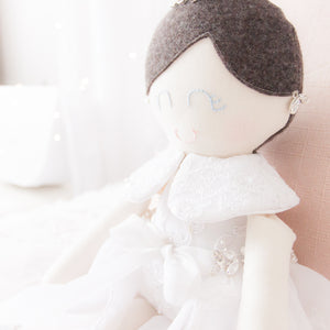 RubyBabyDesigns Keepsake Collective Memories in Threads Wedding Dress Ballerina Heirloom Keepsake Cloth Doll, cloth doll, wedding dress, memory doll, bride, doll created from a wedding dress, keepsake, memory bead, personalised, custom made to order, made in melbourne, handmade, wedding keepsake, ballerina, tutu, felt, cotton, lace, white, brown, silver, tulle