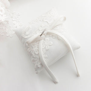 RubyBabyDesigns Memories in Threads Wedding Ring Pillow. A gorgeous ring pillow created from special clothing pieces. Handmade and designed in Melbourne. Crafted from loved ones clothing such as wedding dresses. Approximately 11cm x 11cm.