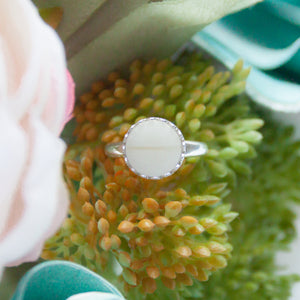 RubyBabyDesigns Keepsake Collective, Memories in Threads heirloom ring, containing preserved breast milk and first curl. Sterling Silver Crown style setting, silver, pink, pearl, preserved breastmilk, melbourne, handmade gem, resin jewellery piece