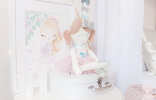 Load image into Gallery viewer, RubyBabyDesigns Keepsake Collective Pascal Ballerina Modern Heirloom Cloth Doll, ballerina, pastels, floral, modern floral, tutu, peachy pink, bow, silver, aqua, mint, toffee, wool, felt, cotton, handmade, made in melbourne