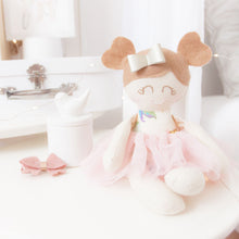 Load image into Gallery viewer, RubyBabyDesigns Keepsake Collective Modern Heirloom Cloth Doll Ballerina mini mee, sized at approximately 26cm and is created with a vintage looking dusty floral print, wool felt blend hair with pigtails, and a faux leather bow in her hair. She is finished off with a lovely tulle tutu skirt in a complimenting colour. Handmade and Designed in Melbourne.