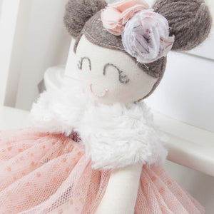 """Luxe"" Mini Mee Modern Heirloom Cloth Doll Ballerina - Alaska White"