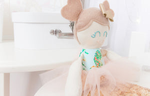 """Classic"" Mini Mee Ballerina Mermaid Modern Heirloom Cloth Doll - Oceania"