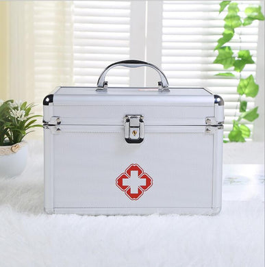 Aluminum alloy portable double-layer first-aid kit (container only)