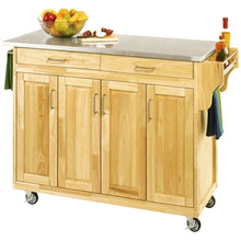 Load image into Gallery viewer, Stainless Steel Top Wooden Kitchen Cart Island with Casters