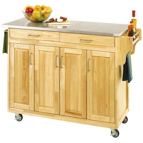 Stainless Steel Top Wooden Kitchen Cart Island with Casters