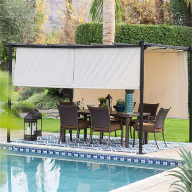 10-ft x 12-ft Dark Brown Steel Pergola Gazebo Retractable Ivory Shade Canopy