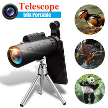 Load image into Gallery viewer, SGODDE 50X60 BAK4 Monocular Telescope HD Zoom Optical Lens Night Vision Camera + Phone Clip Tripod For iPhone XR for Samsung S9