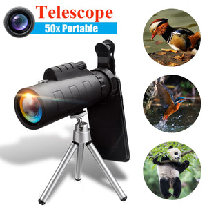 SGODDE 50X60 BAK4 Monocular Telescope HD Zoom Optical Lens Night Vision Camera + Phone Clip Tripod For iPhone XR for Samsung S9