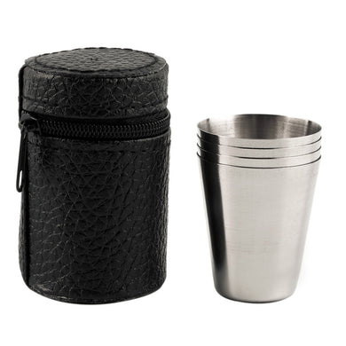1 Set of 4 Stainless Steel Camping Mugs