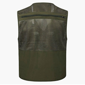 Multifunctional Mens Cotton Army Green Khaki Military Vest Male Mesh Multi-pocket Photography Vests Men Waistcoat Jacket F076
