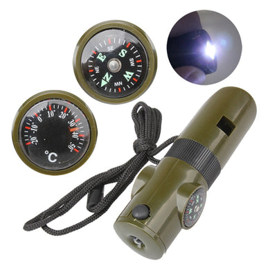 7 in 1 Mini SOS Survival Whistle Kit With Compass Thermometer Flashlight Magnifier