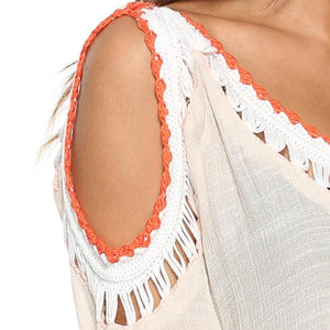 Crochet Vintage Blouse V-neck Hollow Out Shoulder Cover Up