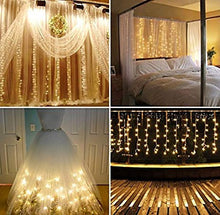 Load image into Gallery viewer, 10Ft. 300-LED Warm White String Curtain Lights