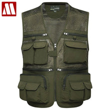 Load image into Gallery viewer, Multifunctional Mens Cotton Army Green Khaki Military Vest Male Mesh Multi-pocket Photography Vests Men Waistcoat Jacket F076