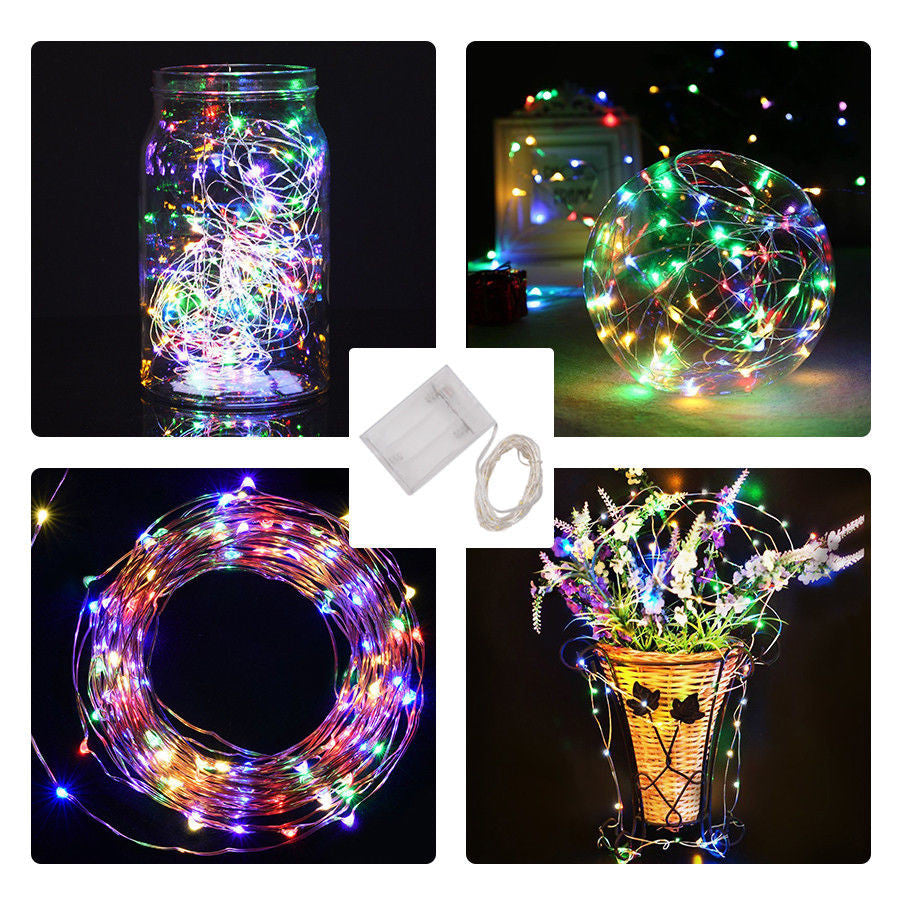 2M 20LED Battery Operated Mini LED Copper Wire String Fairy Lights Party