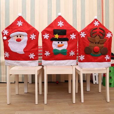 Christmas Chair Covers Santa Claus Snowman Covers Elk Dining Chairs Back Covers For Kitchen Wedding Christmas Decoration