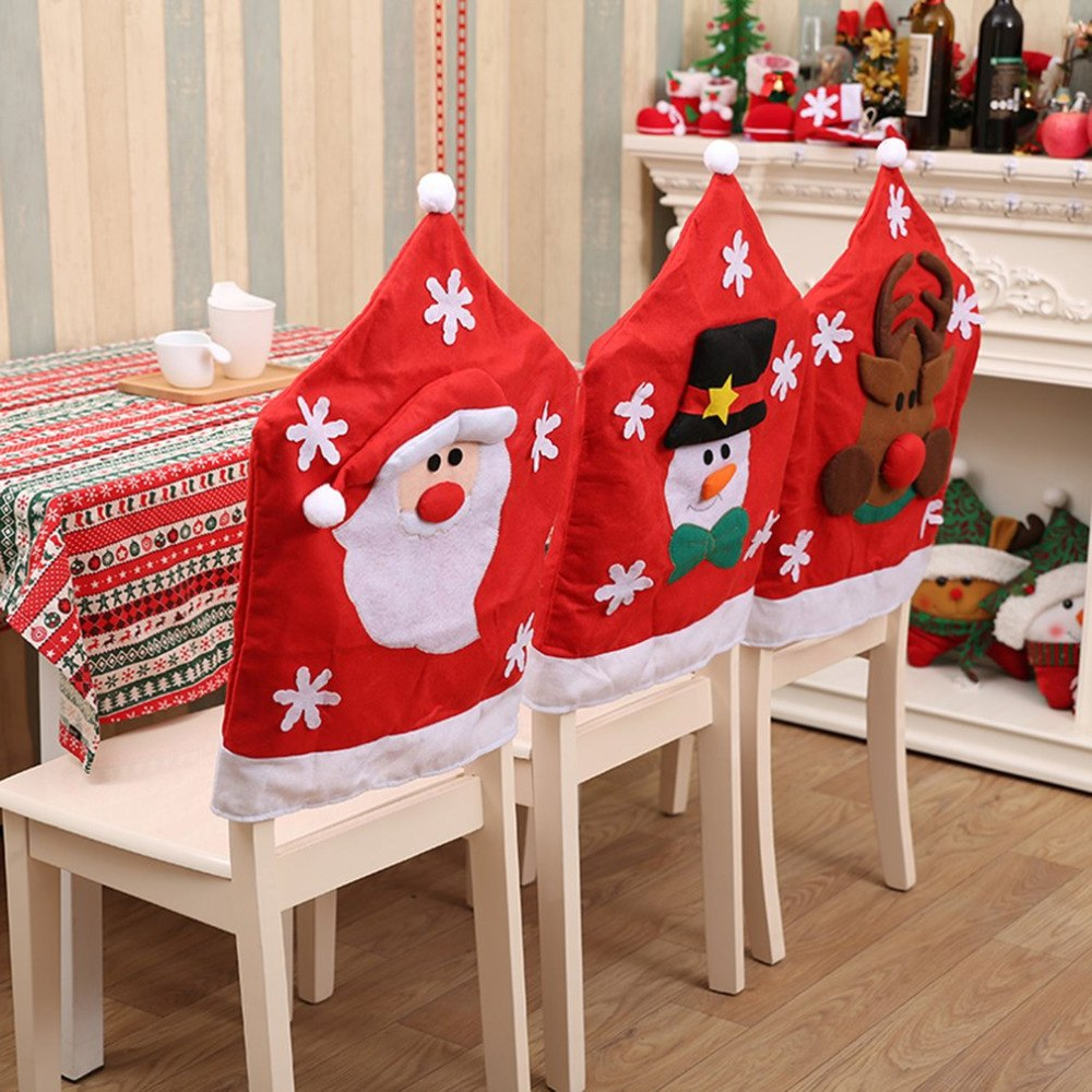 Christmas Chair Back Covers.Christmas Chair Covers Santa Claus Snowman Covers Elk Dining Chairs Back Covers For Kitchen Wedding Christmas Decoration