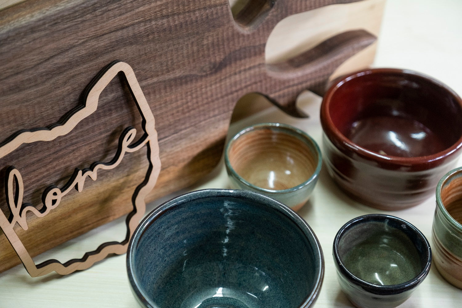 Wood pottery and laser cut goods