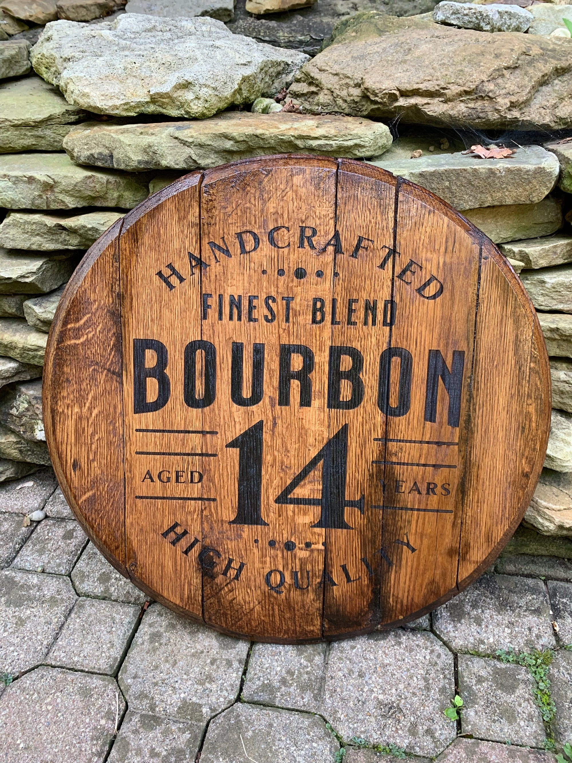 Bourbon Bar Sign, bourbon barrel head/lid