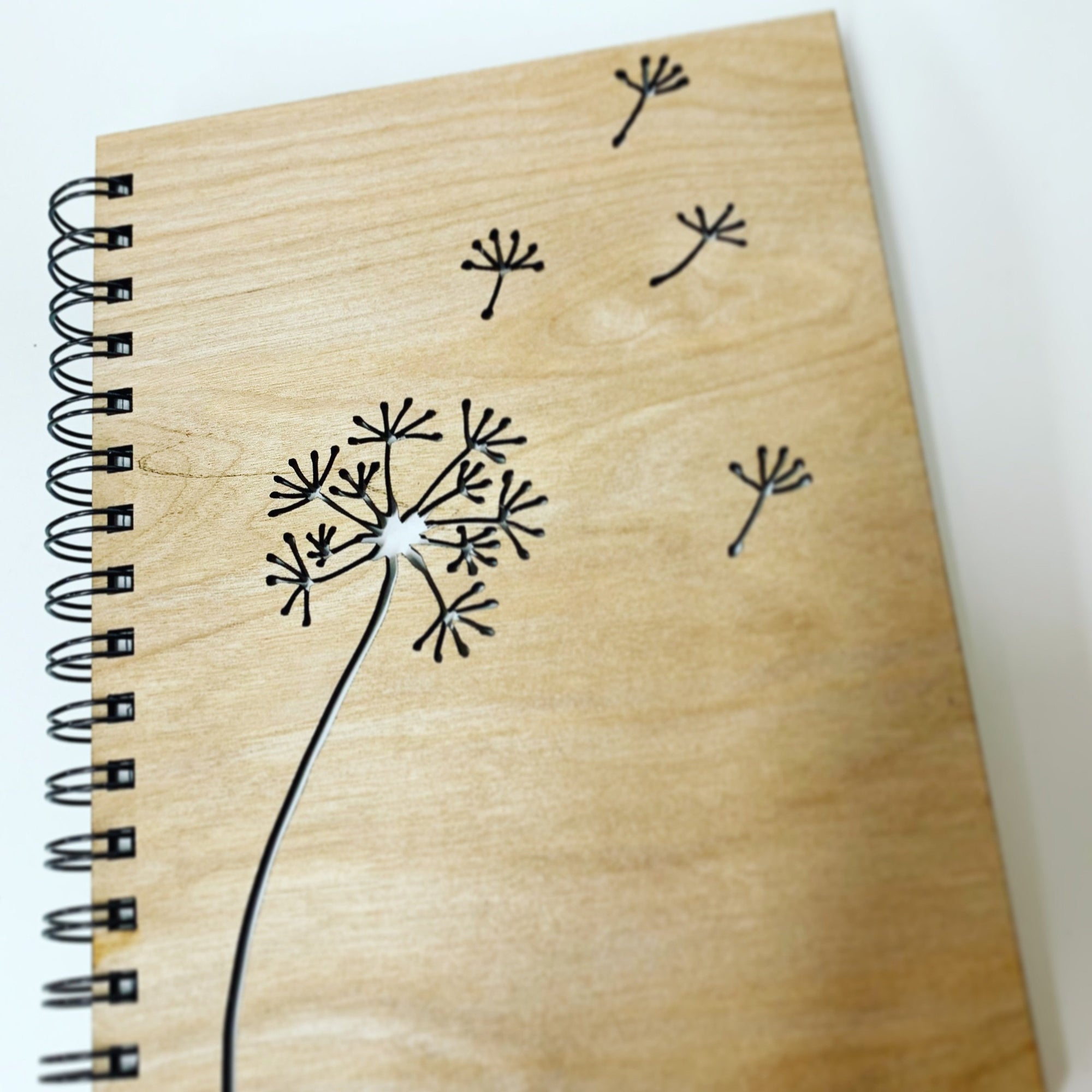 Copy of Wood Notebook - Laser Cut dandelion
