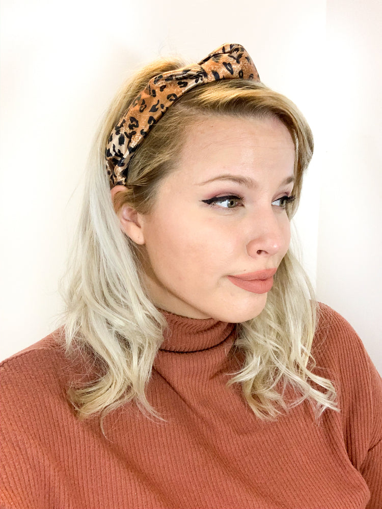Top Knot Headband - Cheetah Print Satin