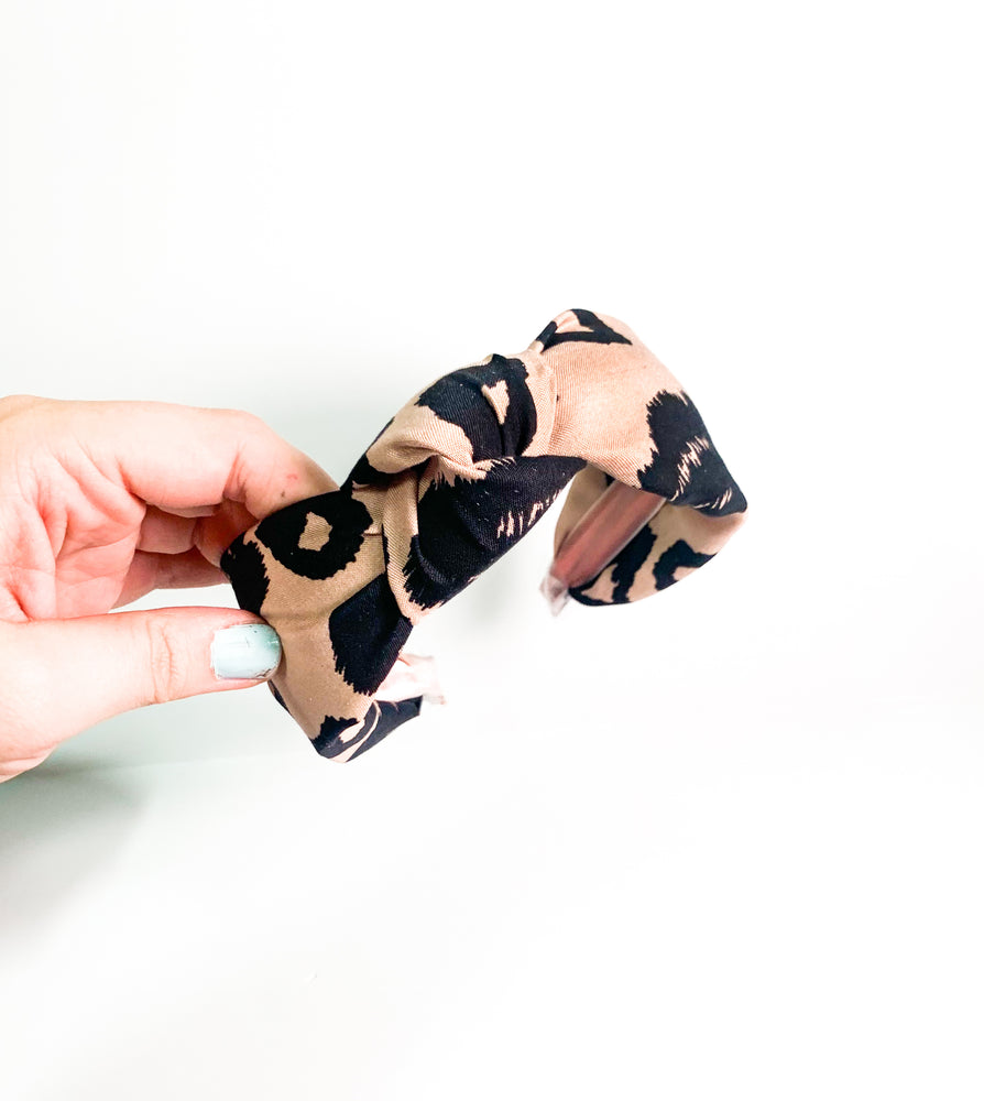 Top Knot Headband - Large Leopard Print