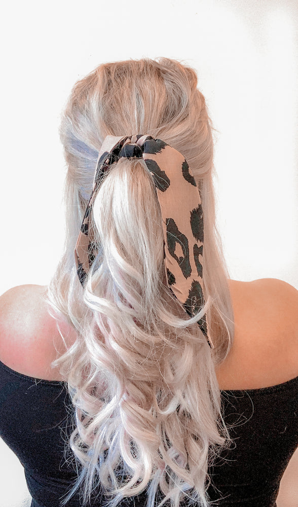 Hair Ribbon / Neck Scarf -  Blush / Black Leopard Print