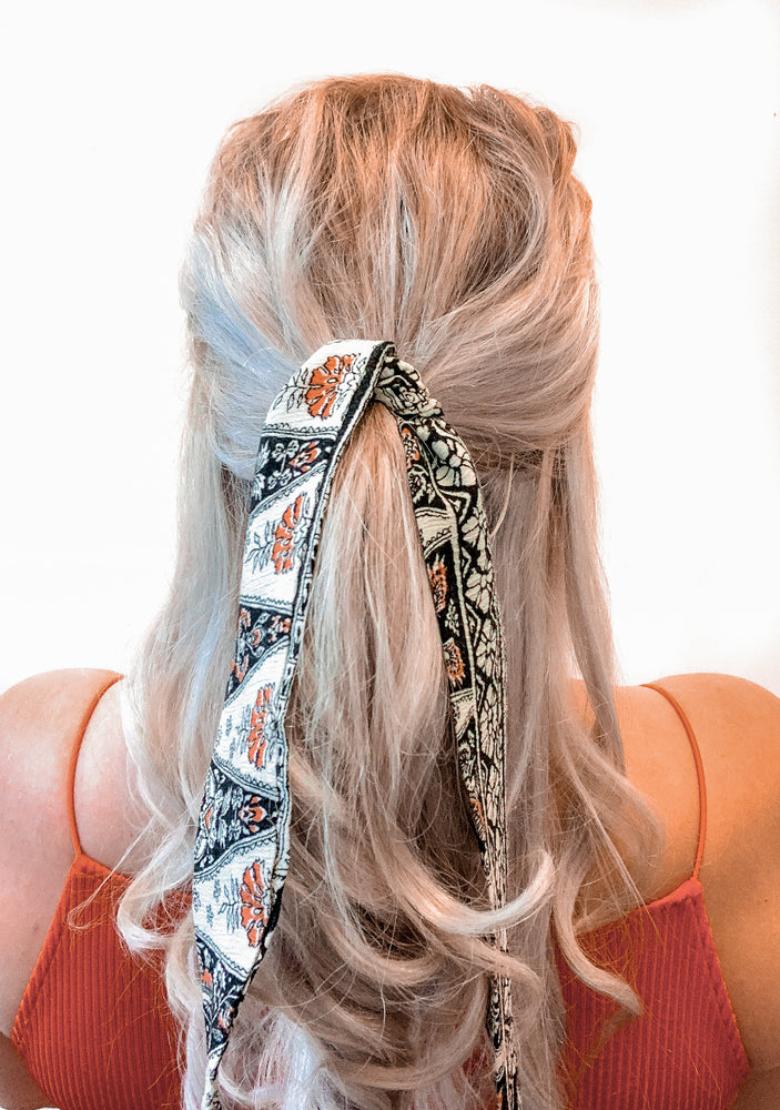 Hair Ribbon / Neck Scarf -  Bohemian Greta Print