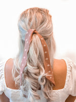 Hair Ribbon / Neck Tie -  Mauve Diamond Print