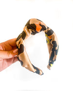 Large Satin Top Knot Headband - Leopard Multi Colored