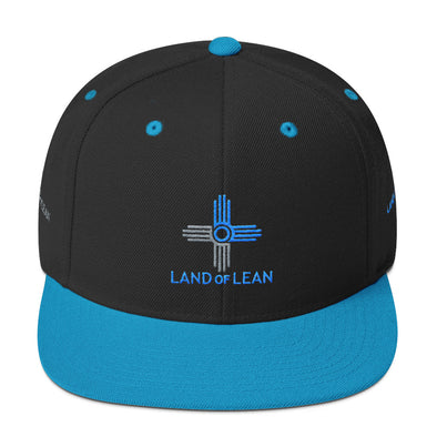 Land of Lean Snapback Hat - Green Under Visor - (Teal & Silver Zia)
