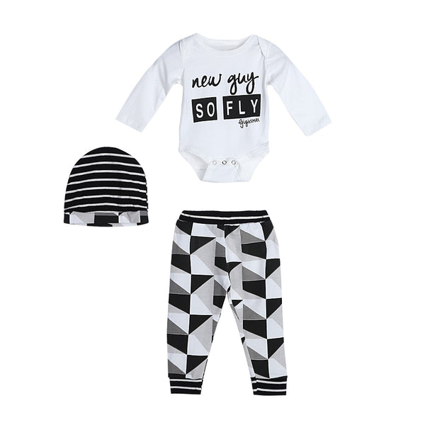 Boys Clothing Set,for 0-18 Months,3pcs Toddler Baby Creative Letter Romper Tops+Stripe Pants+Hat Infant Outfit Clothes