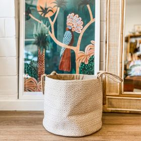 The Dharma Door Woven Jute Basket -  White Diamond